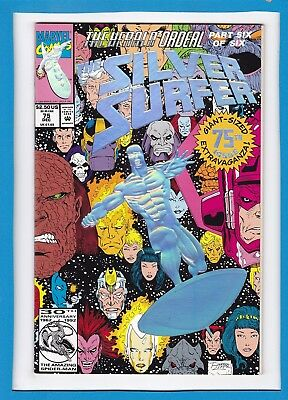 Silver Surfer #75_December 1992_Vf+_Galactus_Embossed Cover_Giant-Sized Issue!