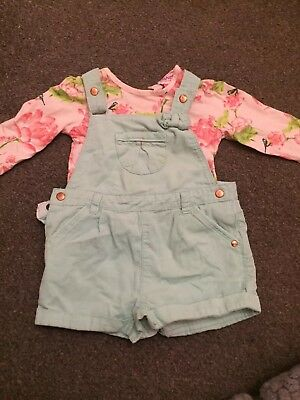 Lovely Ted Baker Top And Dungaree Set Girls 6-9 Months