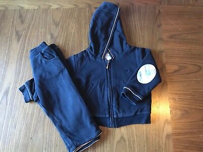 Baby Boys Burberry Outfit 9 - 12 months Designer Tracksuit Jacket & Bottoms Navy