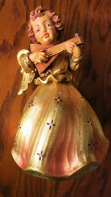 Vintage Anri Gold Wood Carved Angel Playing Lute Music Box Silent Night