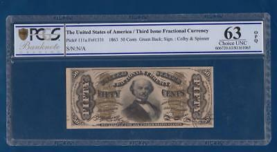 USA 50 Cents 1863 Fr 1331 Choice UNC PCGS 63 fractional United States America