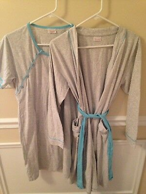 Happy Mama Women's Maternity Hospital Gown Robe Nightie Set Labour & Birth Small