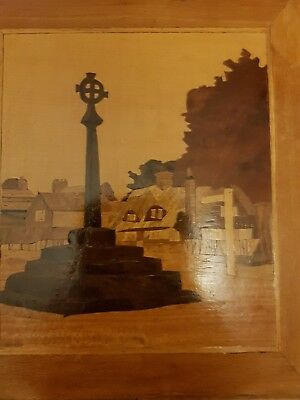 vintage inlaid wooden marquetry picture of village memorial