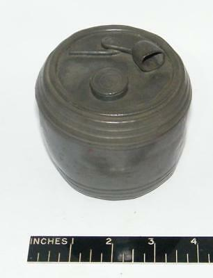 Very old tobacco jar  in pewter with figural lid
