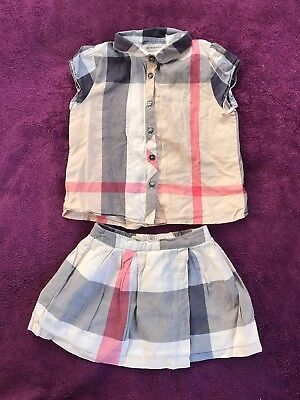 Baby Girls Burberry Outfit 18 - 24 months 2 Years Designer Babies Blouse & Skirt