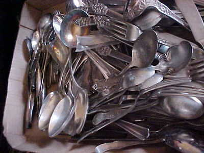10 Pounds Lot Mixed Silverplate Flatware--Use/crafts #2