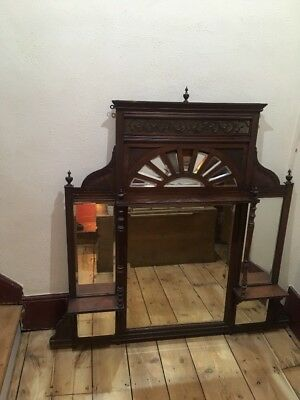 Victorian/Edwardian Over Mantel, Mirror Mantelpiece With Shelves
