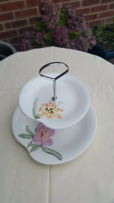 Genuine Shorter & Sons Staffordshire hand painted 2 tier cake stand.