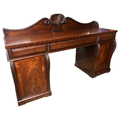 Superb Antique Large English Mahogany 2 Pedestal Regecny Style, Server Sideboard