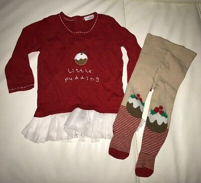 NEXT Baby Girls Christmas Xmas Little Pudding Outfit  9-12m