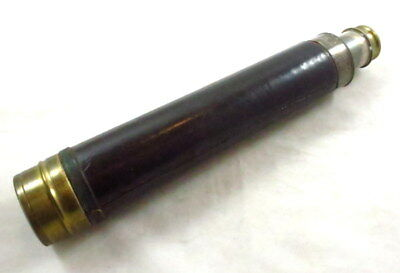 "Antique Military Brass & Leather 4 Draw Spyglass  29 1/2"" L Extended"