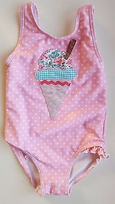 NEXT baby girl 12-18 months pink white spotted one piece swimming costume twins?