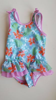 MINI CLUB baby girl 6-9 months blue pink floral one piece swimming costume