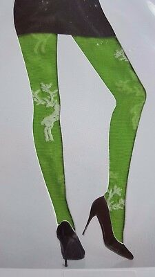 WOLFORD FOLKLORE grass green white reindeer tights size S small Christmas party