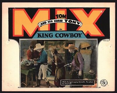 KING COWBOY Lobby Card (Good) 1928 Tom and Horse Tony  Movie Poster Art 1243
