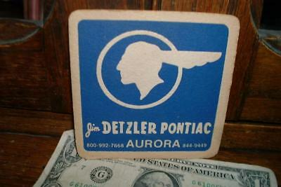 Vintage Jim Detzler PONTIAC Indian Chief Beer Coaster - Aurora, IL - No Reserve!