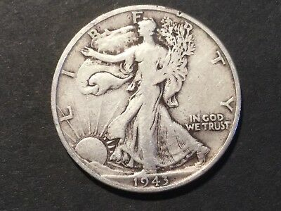 "1943 US ""Liberty Walking"" half dollar coin."