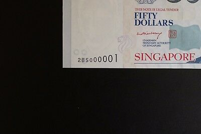 Singapore P-49a 2008ND $50 note in ch-UNC nice low #2BS000001 (v130)
