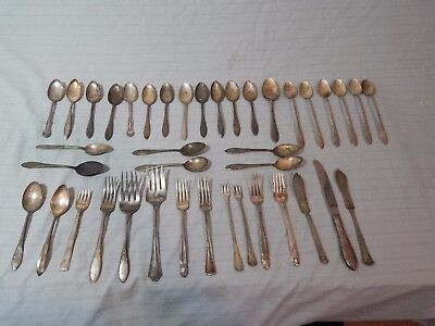 Rogers Silverplate Flatware Lot 40 Pcs Spoons Forks Holmes & Edwards