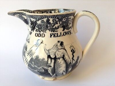 Early Staffordshire Jug 'the Grand United Order Of Odd Fellows' C1820