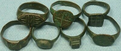 Lot Of 7 Ancient Bronze Rings