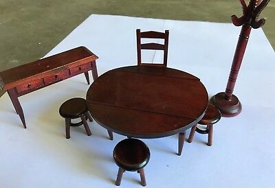 VINTAGE Wooden Dolls House Furniture Miniature Dollhouse table buffet chairs hat