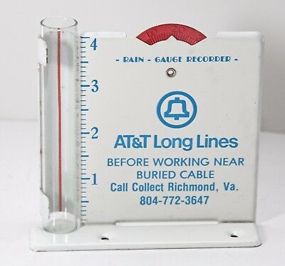 Vint. AT&T Telephone Long Lines Advertising Metal Rain Gauge Recorder w/ glass