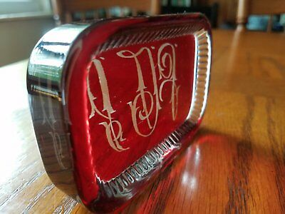 Vintage/Antique Ruby Stained Engraved Monogrammed Paperweight