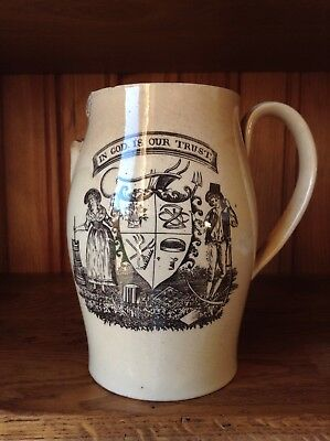 Early Staffordshire Jug 'with Motto C1800 Af!