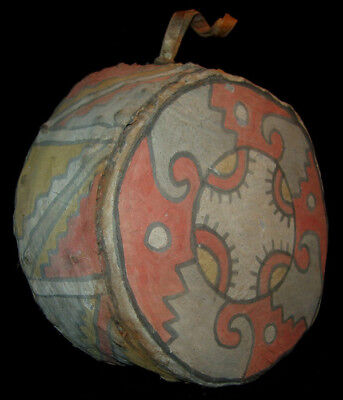 Rare Pre-Columbian Chancay Two Sided Painted Drum