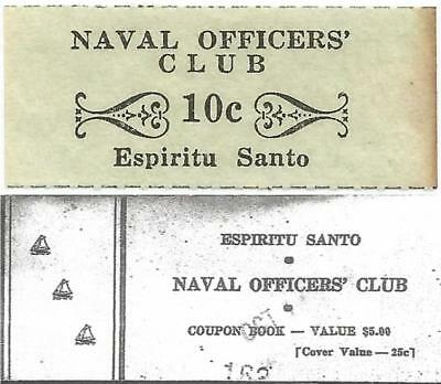 "NEW HEBRIDES Rare ESPIRITU SANTO ""Good For 10¢"" WORLD WAR II Naval Officers Club"