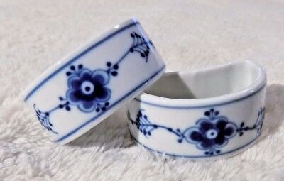 Set of 2 B&G Bing Grondahl Blue Fluted Lace Napkin Rings #567
