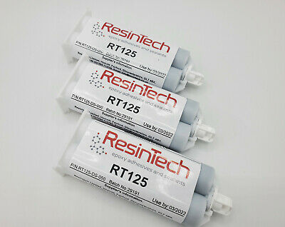 3 pack ResinTech RT125-DS-050 Flexible 2 Part Epoxy 50ML Black Motorsport Nascar