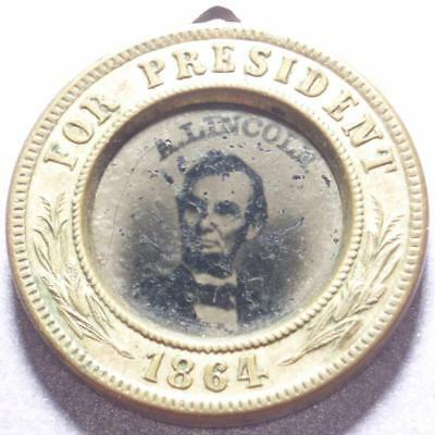 ELECTION of 1864 Rare ABRAHAM LINCOLN & ANDREW JOHNSON Ferrotype CAMPAIGN MEDAL