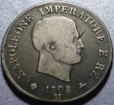 1808 ITALY Silver CROWN SIZE 5 Lire KINGDOM of NAPOLEON Existed 1805-14 ORIGINAL