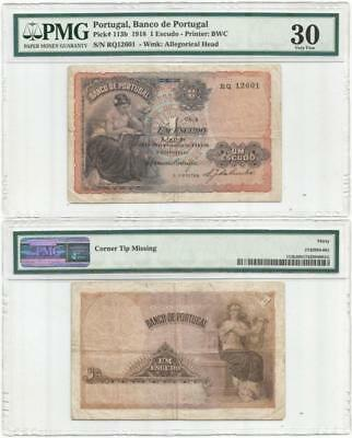 1918 PORTUGAL Only UM ESCUDO Note, GRADED PMG VF30 Is RARE & UNPRICED in CATALOG