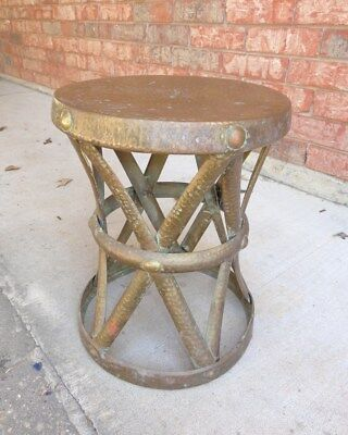 Vintage 60's Mid Century Hammered Brass X Base Stool End Table Made in Hong Kong