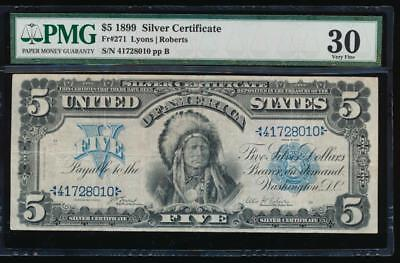 AC Fr 271 1899 $5 Silver Certificate PMG 30 CHIEF NOTE
