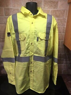 Crude RPS Flame Resistant, Hi-Vis Yellow, Long Sleeve Vented, Shirt, Sz XL,  New
