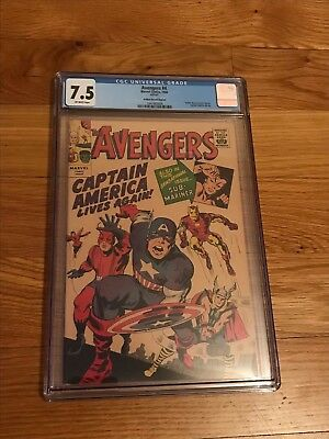Avengers #4 1966 Golden Record Reprint CGC Graded 7.5 OW Pages 1st SA Capt