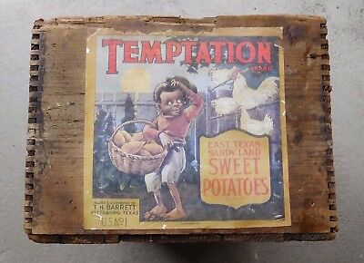 Rare 1920's Temptation Sweet Potatoes Texas Shipping Crate-Great Condition