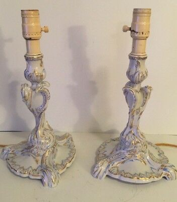 Antique Herend Lamp Pair Victorian Blue Gold White Porcelain Hungary Candlestick