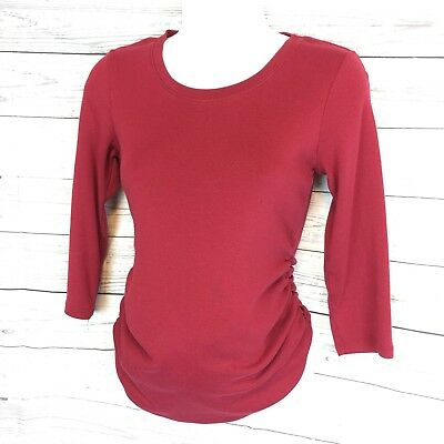 Women's Size XS Red pull over top by MOTHERHOOD basic cotton shirt (q