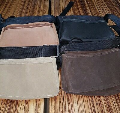 2 Pocket Suede Nail Bags. Colours: Chocolate, Tan, Natural, Black