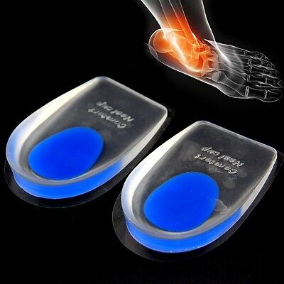 Unisex Silicone Gel Heel Comfort Cup Pad Cushion Insoles Insert Sole Shoes 1Pair