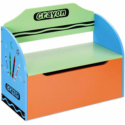 Crayon Themed Wood Toy Storage Box and Bench for Kids Toddler Children Colorful