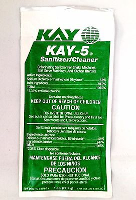Kay 5 Sanitizer/Cleaner for Soda Fountain, Shake & Soft Serve Machines -1oz Pack