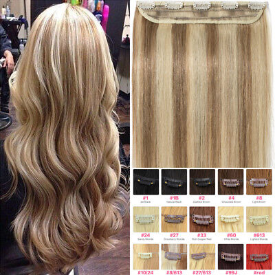 """CLEARANCE One Piece THICK Clip in Human Remy Hair Extensions 16""""18""""20""""22"""" P688"""