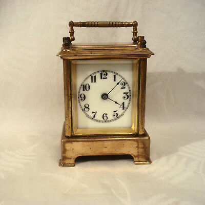 Antique Small Brass Waterbury Carriage Clock with Alarm for Parts or Repair