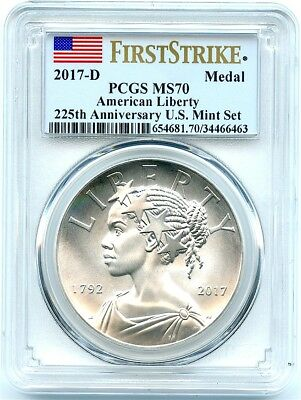 2017-D Uncirculated Silver Liberty Medal, PCGS MS-70 First Strike, Flashy!